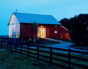 "This 1800s bank barn was converted to a ""party barn."""